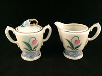 Floral White with Gold Trim Sugar Bowl & Creamer Set