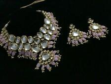 Baby Pink Indian Real Back Meenakari Kundan Gold Plated Necklace Earrings Set US