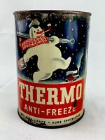 """Vintage Thermo Anti-Freeze One Quart Motor Oil Can Metal 1940""""S Gas Station H/o"""
