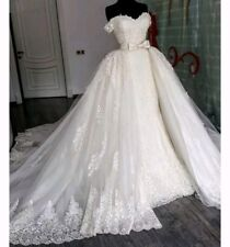 UK Off Shoulder white Ivory Detachable Train Beaded Lace Wedding Dress Size 6-18