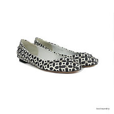 Alexander McQueen Dark Grey White Geometric Print Studded Flats Shoes IT38 UK5