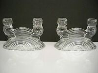 VINTAGE PRESSED GLASS PAIR OF DOUBLE CANDLE STICK HOLDERS