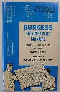 Burgess Engineering Manual 1966 Vintage Edition Book Burgess Battery Company