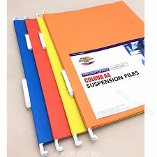 10 x Colour A4 Hanging Suspension Files Tabs Inserts Filing Cabinet Folders Set