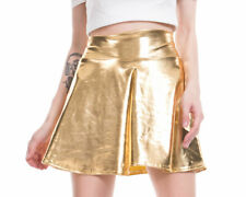 Women's Shiny Wet Look Flared A-Line Skater Skirt High Waist Pleated Mini Skirts