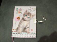 carnet secret livre personnel enfant fille avec cadenas à clefs CHAT chaton