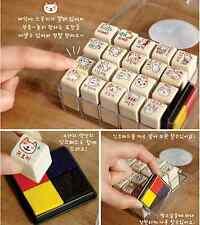 Lot 20 Cat Wooden rubber stamp gift box set w/ color Ink Pad kawaii cute Korean