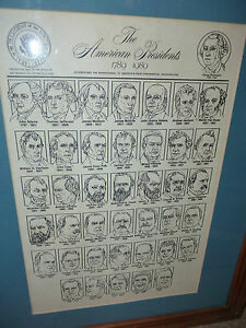 1989 Framed 22' x 18' Inauguration Bicentennial PRESIDENTS OF THE U S 31 Yrs Old