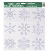 Reutilizables Copo De Nieve Brillo ventana Stickers se aferran congelados Navidad Decoraciones calcomanías