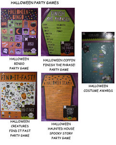 NEW HALLOWEEN PARTY GAMES  *Your Choice* BINGO FINISH THE PHRASE FIND IT FAST