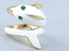 Enamel Painted Wrapped Cartoon White Dolphin Fashion Rhines Eye Adjustable Ring