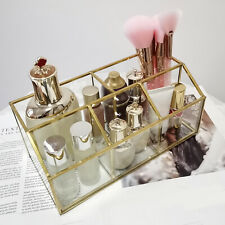 Clear Glass Makeup Brush Holder With 5 Compartments Organizer Storage Case