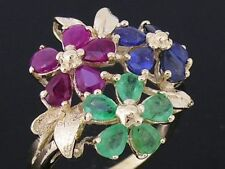 R192 Genuine 9ct GOLD Natural Emerald, Ruby,Sapphire BLOSSOM Bouquet Ring size O