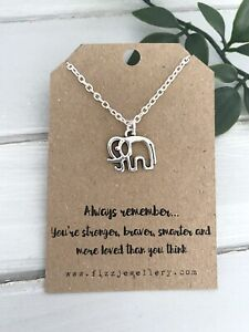 Always Remember Silver Plated Cutout Elephant Necklace Quote Gift Message Card