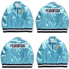 Fear Of God Men's Men Women's Baseball Loose Jacket Coat Blue Zipper Fashion