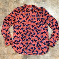 GAP Women's Coral Pink Blue Black Butterfly Print Button Front Blouse Size Small