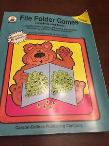 Carson Dellosa File Folder Games Reading & Math Preschool 40 Games In Book