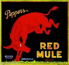 Los Angeles California Red Mule Orange Citrus Fruit Crate Label Art Print