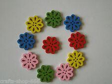 10 Holzknöpfe Knöpfe  Blumen  Bunt  21 mm - Neu