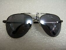 CLASSIC AVIATOR SUNGLASSES BLACK COLOR TINTED LENS METAL FRAME W/SPRING HINGES
