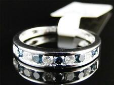 New Ladies White Gold Blue/White Diamond Channel Fashion Wedding Ring Band .53 C