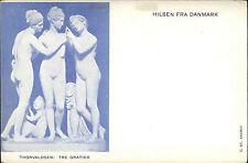"""Hilsen Fra DANMARK Litho-AK um 1900 Thorvaldsen Kunst """"The Gratier"""" Skulpturen"""