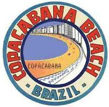 Copacabana Beach  Brazil    Vintage-1950s  Looking  Travel Decal/Sticker