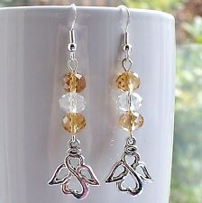 Angel Earrings with Crystal Beads and Sterling Silver Hooks New LB350