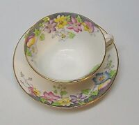 Rosina Bone China Teacup Saucer Pink Yellow Purple Blue Flowers England Vintage