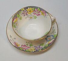 Rosina Bone China Teacup Saucer Pink Yellow Purple Blue Flowers England Vintage