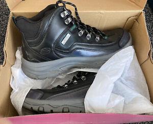 Sketchers Black Leather Hi Top Hiker Snow Boots 6.5 Uk Memory Foam Walking Shoes