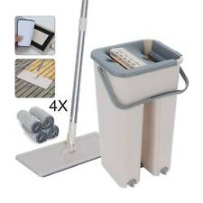 Floor Mop and Bucket Set 360° Flat Microfiber Mop Heads Dry Cleaner Cleaning