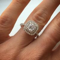 2.90ct Natural Cushion Cut Double Halo Pave Diamond Engagement Ring - GIA