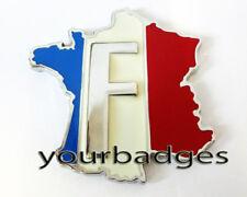Métal chromé français France carte F voiture badge peugeot