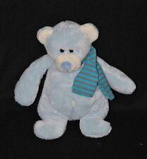 Peluche doudou ours bleu MIGROS crème écharpe rayée bleu gris 20 cm TTBE