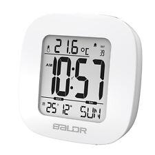 Cool Baldr White Mini Snooze Alarm Clocks Digital Calendar Temperature Backlight