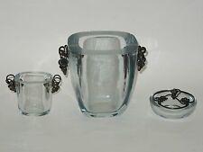 3x VINTAGE 40's DANSK GULDSMEDE HANDVAERK DGH DENMARK STERLING GLASS VESSEL