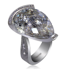 Silver Swan Ring With 28.8 Carat Rutilated Quartz & Cubic Zirconia Women's Ring