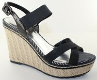 Charles David Pristine Black Espadrille Wedge Sandal Heel Women Shoe Size 10 NEW