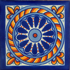 "Handmade Mexican Tile Sample  Talavera Clay 4"" x 4"" Tile C153"