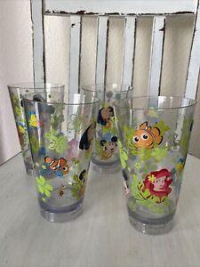 4 HTF Disney Store Tiki Kingdom Plastic Drink Glass Mickey Minnie Stitch Ariel