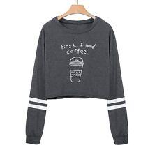 manga larga Mujer Suéter Pulóver Blusas Cortas Sudaderas sudadera blusa camisas