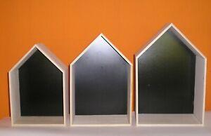 Wandregal, 3-teilig Holz Paulownia natur, montiert 3er Set, Hausform, neu selten