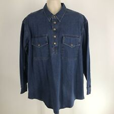 Orvis XL (check measurements) denim long sleeve snap pullover mens Shirt