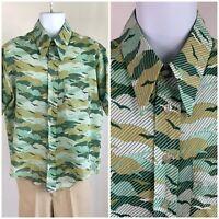 Vintage 60s 70s Bird Cloud Print Disco Shirt No Iron Hippy Optical Illusion XL