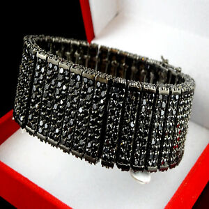 MENS NEW BLACK GOLD FINISH 10 ROW 3D BIG BOLD LAB DIAMOND SIMULATE BRACELET 7.5""