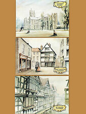 3x Vintage Victorian POSTCARD Canterbury Cathedral Weavers Kings School Shop Lot