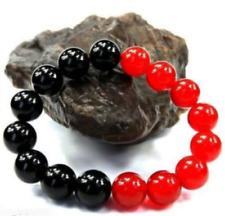 New 12mm Red Jade Black Agate Onyx Gems Bead Bracelet 7.5''