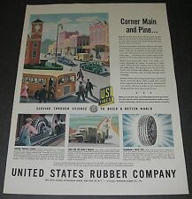 Print Ad 1944 TIRES United States Rubber Co ART Witold Gordon Corner Main Pine