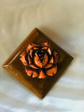 Vintage Small Tipped Wood Square with Orange Plastic Rose Flower Pin Brooch –